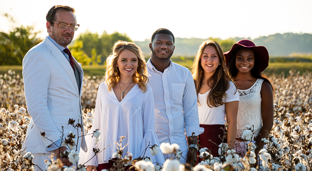Students in cotton field