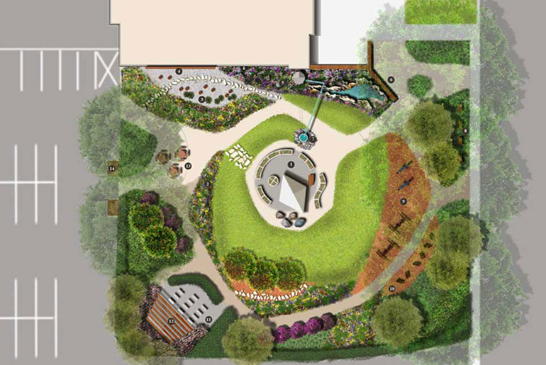 concept of landscape improvements for school greenspace