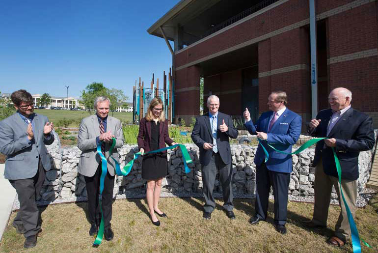 EPA raingarden ribbon cutting marks observation of Earth Day at MSU